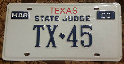 2000 Texas State Judge Tx-45 License Plate