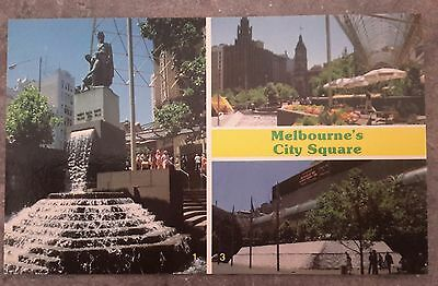 Vintage Postcard MELBOURNE city square Bourke Wills statue  townhall fountain