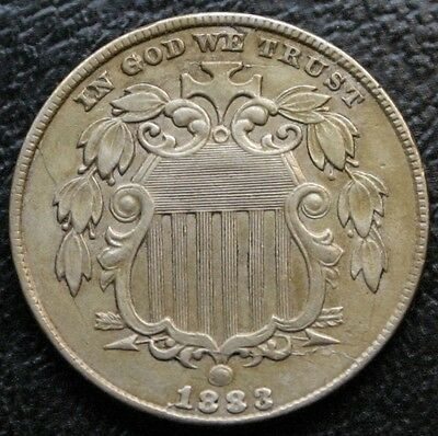 1883 Shield Nickel AU Almost Uncirculated 5C Coin
