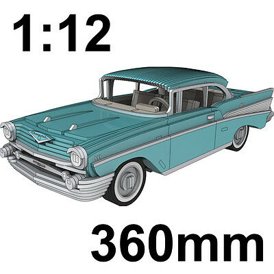 1:12 Chevrolet Bel Air 1957 Wooden Classic Car Model Flat Pack, Great Gift