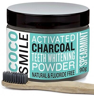 Cocosmile: Activated Charcoal Teeth Whitening Powder with Charcoal Toothbrush |