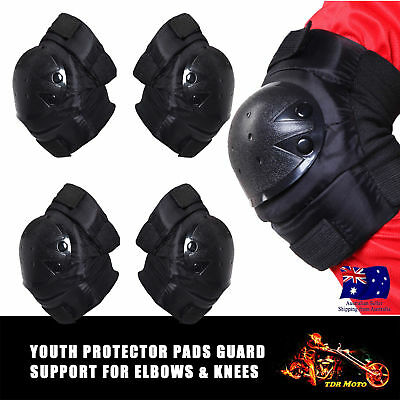 Motorcycle Kid Knee Pads Elbow Safety Armor Support Motocross Protective Gear AU