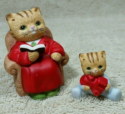 Homco Figurine Cat Set 5103 Partial Kitten Robe Chair Book Train Pajama Baby Dad