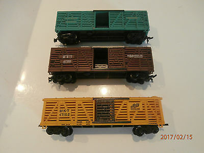 3 Livestock Wagons......missing Doors...........ho Scale