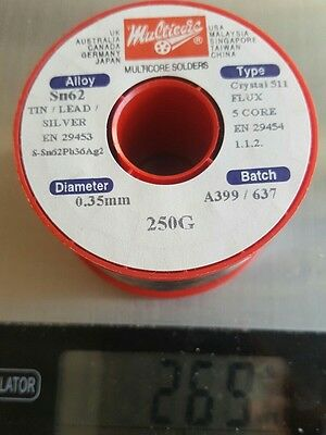 SOLDER wire Multicore 250g 0.35mm  Tin, Lead, Silver Sn62 Flux 5 Core A011