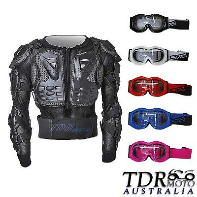 Peewee Kid Youth Body Armour Motorcycle Dirt bike Pressure Suit + Goggles XMAS