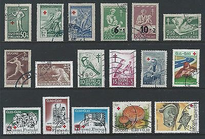 Estate lot of 17 used Finland Semi-postals includes: Red Cross, Olympics, Birds
