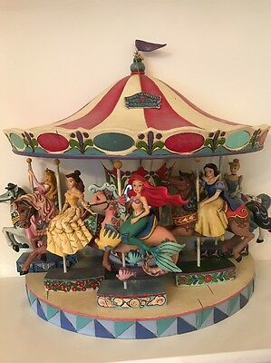 Disney Traditions Jim Shore Princess Carousel Horse Stand Base Complete Set