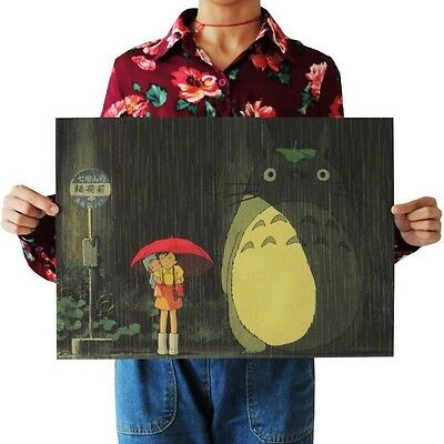 Retro Totoro Wall Poster Wall Decals Kraft Paper Poster Movie Poster home Bar
