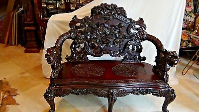 ANTIQUE 19c CHINESE SETTEE W/ELABORATELY CARVED  BACK ,ARM REST& LEGS