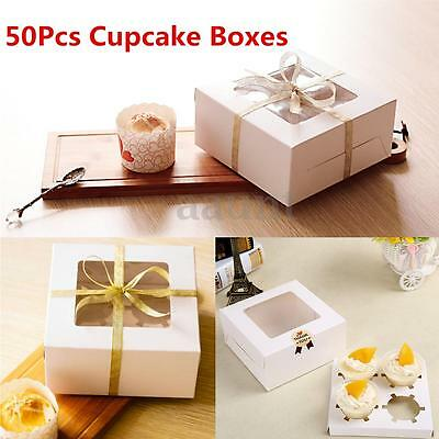 50Pcs 4 Hole Paper Window Cupcake Muffin Insert Packing Box Wedding Party Favor
