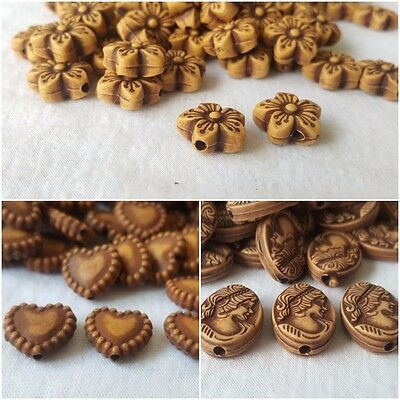 30 Gorgeous wood style crafted multi shape 1 hole beads for arts crafts decor