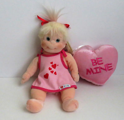 "Ty 10"" Beanie Kid Doll Named Sweetie with 5"" Velour  Be Mine Pillow"