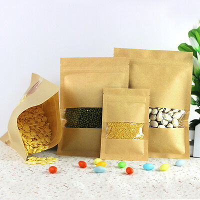 Kraft Paper with Clear Window Food Grade Packaging Bag Zip Lock Self Seal Pouch