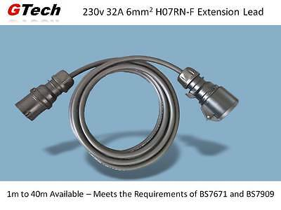 1m to 40m - 230v 32A IP44 Extension Cable - 6.0mm sq H07RN-F Cable - EVENT/STAGE