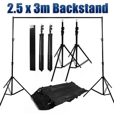 Photo Studio 2.5x3M Background Support Stand Backdrop Crossbar Tripod Stands Kit