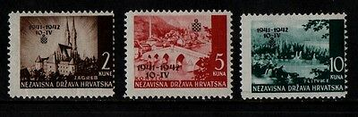 1942 CROATIA WAR STAMP(optd)(MNH) S.G.59-61