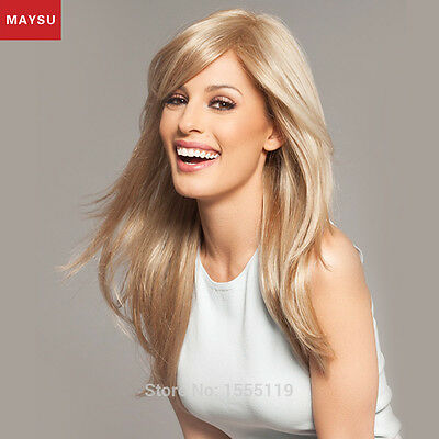 Long Straight Human Hair Wigs For White Women MAYSU Side Parting Human Hair Wigs