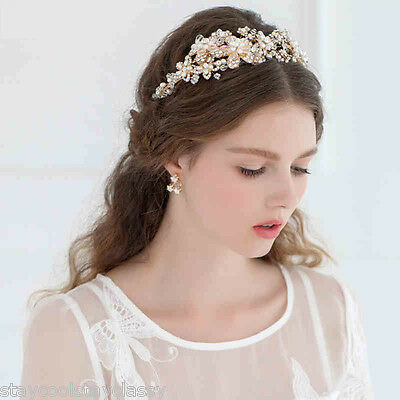 Women Party dance Pearl Wedding Bride Crystal Pearl Hair Headband Headpiece Gold