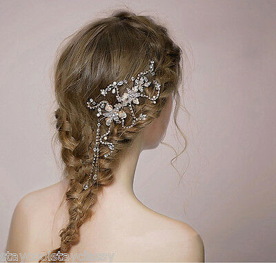 Women Party dance Wedding Bride Crystal Hair Comb Headpiece Gold bling vintage