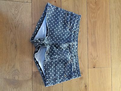 Topshop Moto High Waisted Black Denim Shorts With Daisy Pattern Size 12