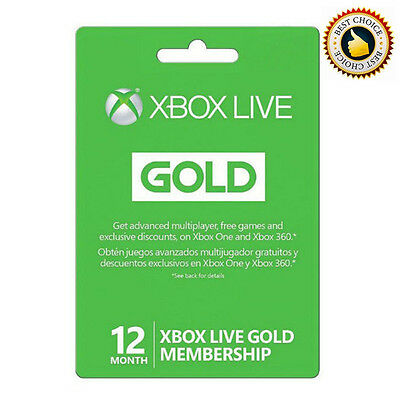 Microsoft Xbox 12 Month Xbox Live Gold Membership Works on XBOX 360 / ONE Game