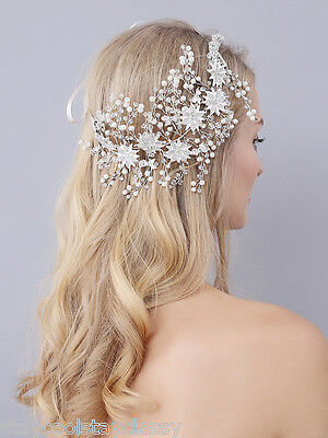 Women Party dance Wedding Bride Crystal Hair headband Headpiece Pearl Gold Flowe