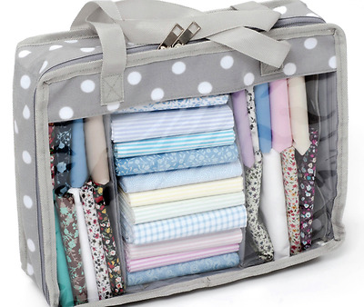 Fat Quarter Quilters Storage Bag Mini for fabric in grey spot pattern