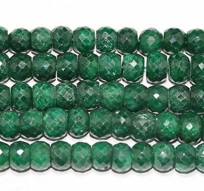 "14"" St Emerald Faceted Rondelle Beads Fine Cut 7-8MM GEM"
