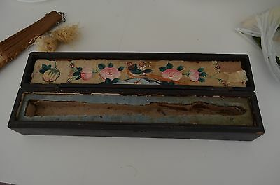 Antique Chinese Oriental Carved Wood & Silk Fan - In Original Lacquer Box 1800s