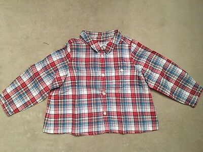 Chemise garcon 2 ans BONPOINT 24mois Bebe carreaux baby boy checked red shirt 2