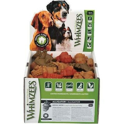 Whimzees Alligator Medium Box 75 Treats - Vegetable Natural Grain Free Dog Chew