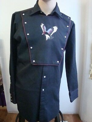 Vintage Mwg Black Western Shirt With Chest Bib And Embroidered Eagle Sz Xl