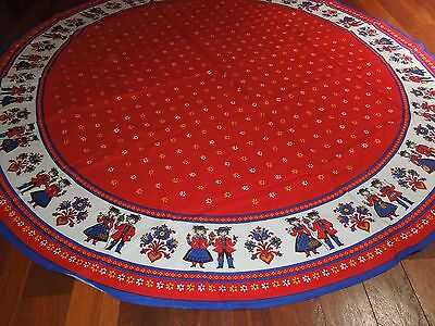 Vintage Tablecloth, Round, Red Blue White, Dutch Print, Cotton, Like New