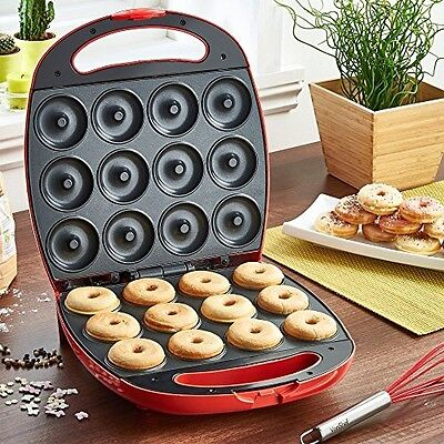 Deluxe 12 Hole Electric Doughnut Maker Donut Snack Machine 1400W Red Kitchen