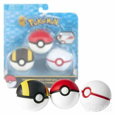 New Pokemon Throw 'N' Catch Poke Balls 3 Pack Soft Glow In The Dark Official