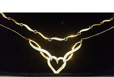9 Ct Gold And Diamond Necklace And Bracelet Set Brand New