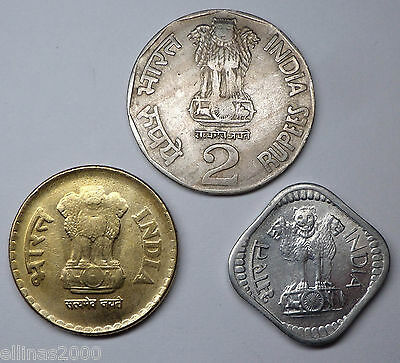 LOT INDIA (3 coins, 3 Errors) -  5 Paise 1983,  2 Rupees 1993,  5 Rupees 2010