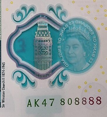 England New £5 Note AK47 808888 (almost 888888 Extremely Rare)