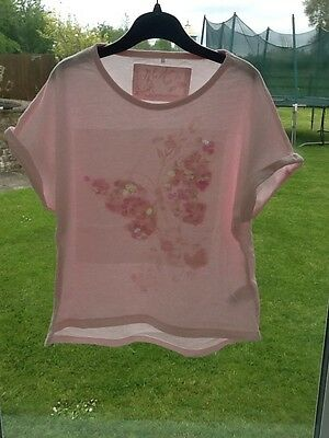 Girls Next Pink Butterfly Sequins Tshirt Size 7 Years