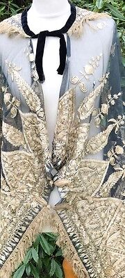 Antique Victorian Lace/Embroidered 19th Century Shawl Gold Thread