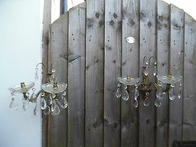 Antique/vintage French Ormolu Crystal Drop Wall Lights