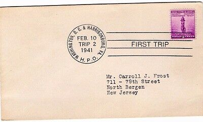 1941 Usa Highway Post Office Washington D.c. First Trip Cover From Collection R2