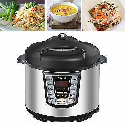 Electric Pressure Cooker 7-in-1 Multi-Functional Programmable Kitchen 6Qt/1000W.