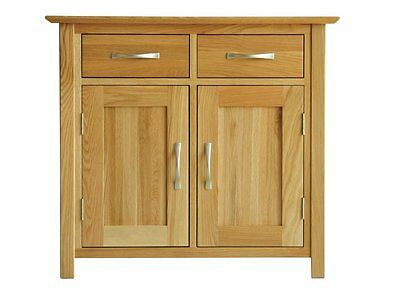 Solid Oak Small Sideboard-2 Door Cupboard With 1 Drawer-Modern Furniture-Oun-Sms