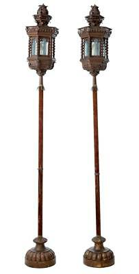 Pair Of Early 20Th Century Copper Venetian Lamps On Poles