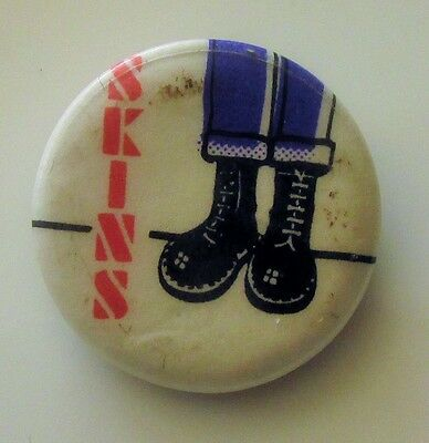 SKINS SKINHEAD DR. MARTEN BOOTS OLD METAL BUTTON BADGE FROM THE 1980's