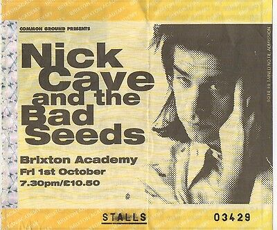 Nick Cave & The Bad Seeds - Used Brixton Academy, London 1st October 1993 Ticket