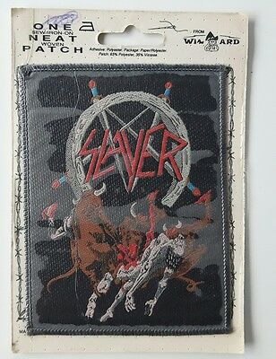 Slayer woven patch vintage sew on iron heavy metal retro Hell Awaits UK made