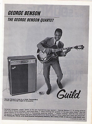1968 Guild Guiars & Amp George Benson Vintage Print Advertisement
